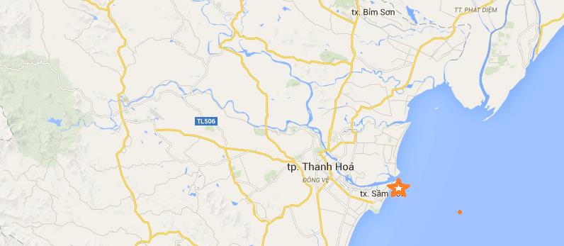Vị trí địa lý Thị Xã Sầm Sơn