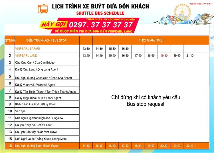 Bảng thông tin địa điểm – giờ đón khách của xe buýt Vinpearl Phú Quốc